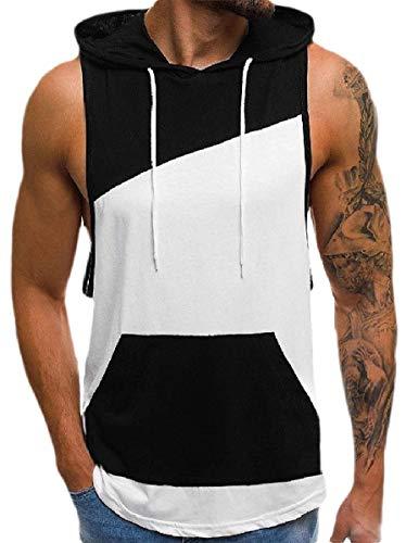 CuteRose Men's Basic Cotton Loose Big Pockets with Hood Vest Tank Top White L (Cotton Square Tank Cut Top)