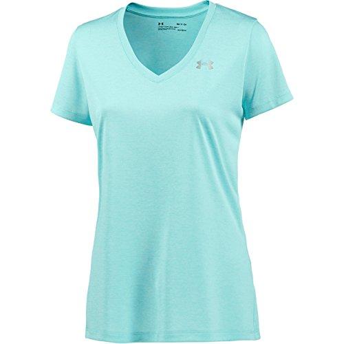 Under Armour Damen kurzärmliges & atmungsaktives Laufshirt für Frauen, ultraleichtes T-Shirt mit loser Passform Tech SSV - Twist, Blue Infinity, XS Infinity Twist