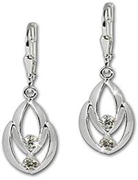 SilberDream Boucles d'oreilles - boucles d'oreilles Glamour zircon blanc - argent sterling 925 pour femme - SDO522W