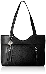 Butterflies Women's Handbag (Black) (BNS 0588BK)