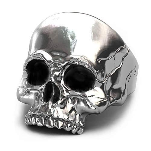 EVBEA anillo de calavera plata de motero grande para hombre para meñique ideal como regalo (10)