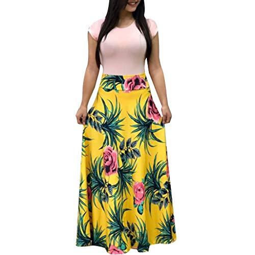 TianWlio Sommerkleider DamenSommer Kurzarm mit Blumenmuster Sommerkleid Beiläufig Swing Kleider Maxi-Kleid Gelb ()