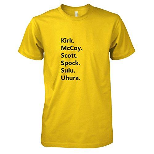 TEXLAB - Trek Crew - Herren T-Shirt, Größe XXL, gelb (Uhura Star Trek Into Darkness Kostüm)