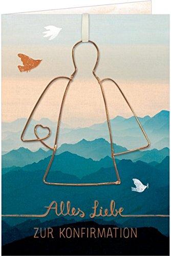Grußkarte - Alles Liebe zur Konfirmation: mit Drahtanhänger (Engel)