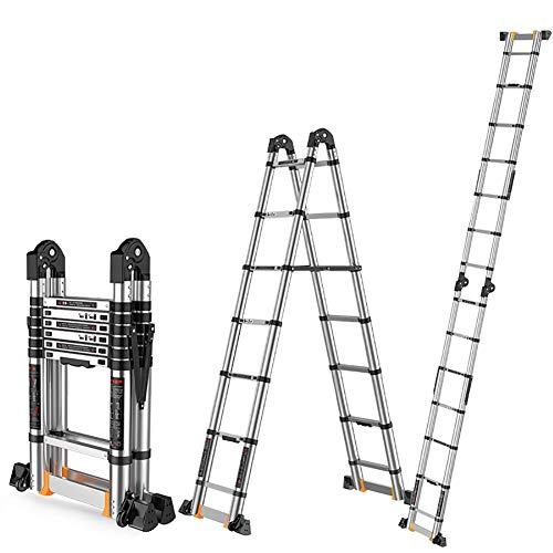 Tragbare Aluminium-Teleskopleiter, 5/6/7 Stufen, Mehrzweck-Profi-Teleskopleiter für Engineering-Loft, Kapazität bis zu 150 kg (Größe: 1,95 m)