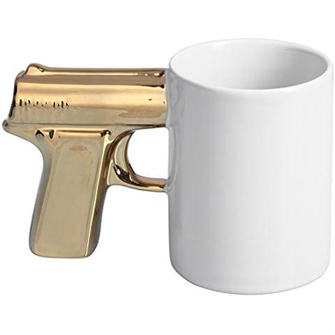 VENKON - Tazza di ceramica con un manico nel design della pistola - per il caffè, tè, cacao, latte, acqua, ecc. - Volume: 300ml - Colore: BIANCO - per bevande calde e fredde