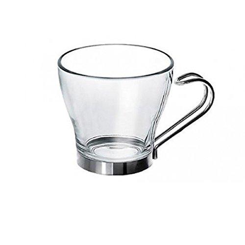 CompraExpress - 6 vasos de cristal de 100 ml con asa de acero inoxidab