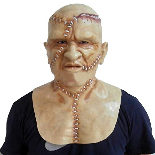 Frankenstein Leicht Kostüm - MASCARELLO Frankenstein Maske 2 Pistolen Latex Halloween Kostüm Menschliches Gesicht Kopf- und Nackenmaske Handgefertigte Horror Vampir Masken