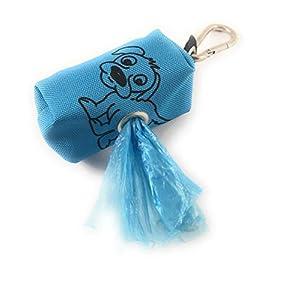 Kotbeutelspender, Kotbeuteltasche inklusive Kotbeutel, Hellblau dunkelblau mit Hund