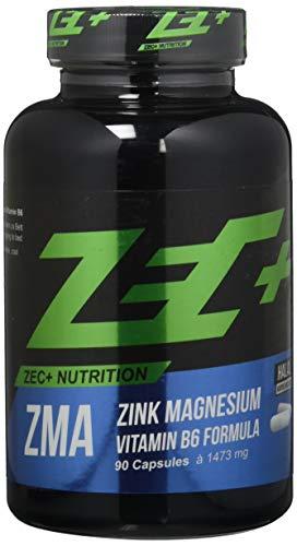 ZEC+ ZMA - 90 Kapseln, hochwertiger Komplex mit wertvollem Zink, Magnesium & Vitamin B6, Nahrungsergänzung für normalen Stoffwechsel und zur Erhaltung normaler Knochen, Haare und Haut, MADE IN GERMANY -