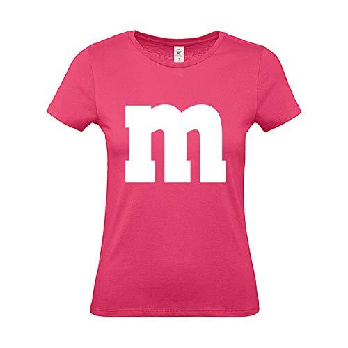 Shirt-Panda Damen T-Shirt M&M Gruppen Kostüm Karneval Fasching Verkleidung Party JGA Frauen Pink XL -