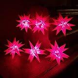 Weihnachtsstern 2.Wahl Lichterkette 6 Sterne Rot 11,5cm LED mit Timer und Batterie Innenstern 3D Adventsstern Stern Leuchtstern