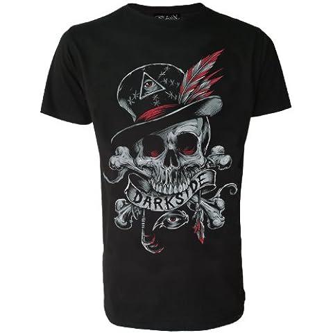 Darkside Original Voodoo diseño de calavera para hombre T-camiseta de manga corta de blanco o