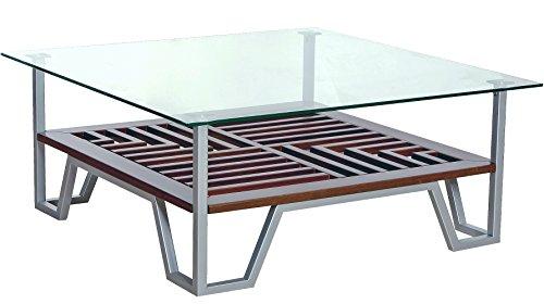 MDA Designs Lyra Placage Bois véritable Noyer et verre avec Contempo en chrome satiné Pieds Table basse