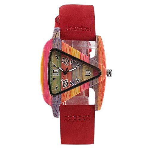 Creative Unique Colorful Wooden Triangle-Shaped Clock Hour Clock Quartz Leather Wristwatch for Women Wristwatch for Women,4