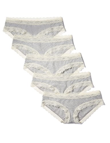 Iris & lilly culotte in cotone body natural donna, pacco da 5, grigio (melange print), small