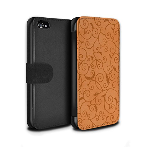 Stuff4 Coque/Etui/Housse Cuir PU Case/Cover pour Apple iPhone 4/4S / Orange Design / Motif de la vigne Collection Orange
