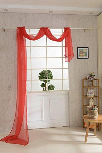 Magideal mantovana tenda voile sciarpa drappo da finestra letto misura 550x80cm - 9 colori - rosso