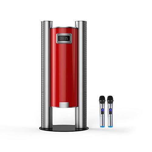 LINGYUN Vertikales Heimkino Drahtloser Bluetooth-TV-Karaoke-Lautsprecher, SRS-Surround-Sound, mit drahtlosem Mikrofon und Fernbedienung, für TV/Computer/Handy/Projektor,Red -