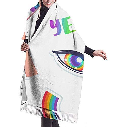 WARmin LGBT Logo Symbols Stickers Nahtloses Muster. Fahnen, Herzen. Abzeichen, Anstecknadeln, Aufnäher, Wickelschal aus Unisex-Kaschmir