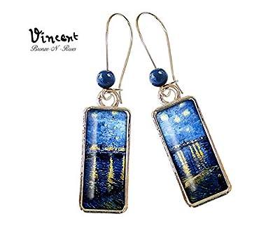 Boucles d'oreilles rectangulaire la Nuit étoilée sur le Rhône Vincent van Gogh cabochon bleu couleur argent rectangle