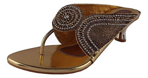 Shoestoppers Womens Block Heels Slipper with Hadicraft Work Golden Color Size 40