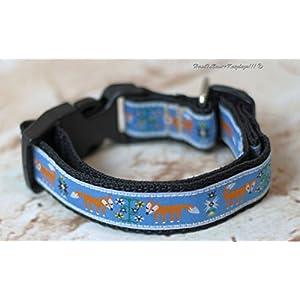 Hundehalsband Füchse in Blau, klein