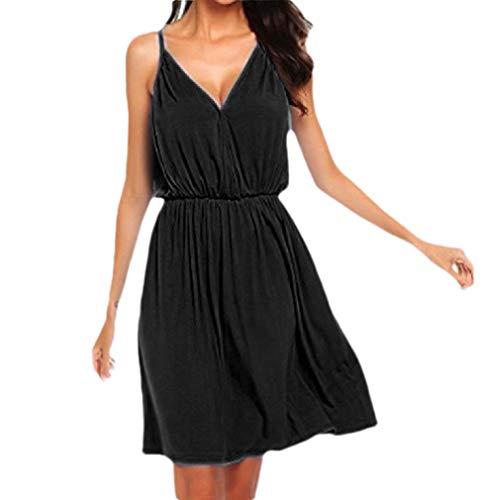 CuteRose Women's Summer Solid Color Sling V-Neck Slim Fit Tunic Swing Dress Black XS
