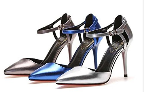 Beauqueen Pumps CASUAL SCHUHE Sommer Mädchen Frauen Einfache Spiegel Looks Casual Schuhe Silber Blue Gun Farbe Europa Standard Größe 34-39 Silver