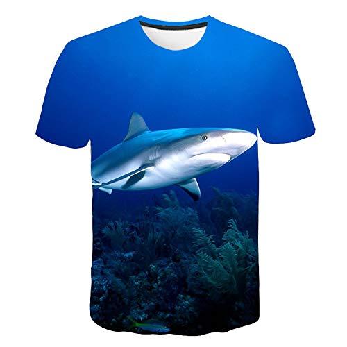 Große Weiße Kostüm Hai Kind - XIAOBAOZITXU T-Shirt 3D-Digitaldruck Pullover Kurzarm Großer Weißer Hai Schmaler Schnitt Cooles Lustiges Sommer-Unisex-Paar-Kostüm L