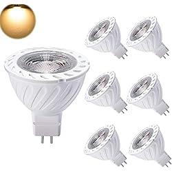 Yafido Ampoule MR16 GU5.3 LED 12V Blanc Chaud 7W Equivalent à 50W Halogène Lampe GU 5.3 Spot 3000K 550Lumen COB 38°Faisceaux Non-dimmable Ø50 x 55mm Lot de 6