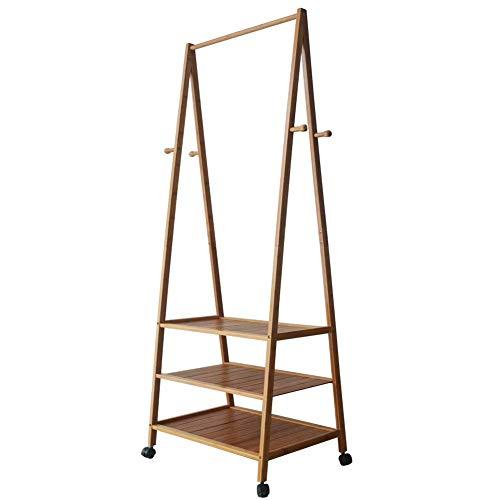 Honor jojoba stand appendiabiti stender legno attaccapanni da terra in bambù mobile con scaffale 3 ripiani di scarpiera con rotelle