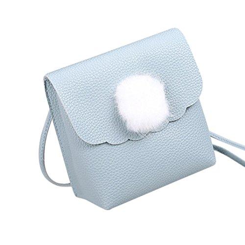 Malloom® Mode Frauen Umhängetasche Umhängetasche Messenger Bag Handytasche Münztüte rot Pelz Ball einfarbig Geldbörse (blau)
