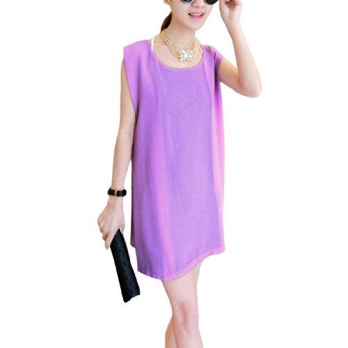 Damen U-ausschnitt Netz Patchwork Pullover Freizeit Minikleid Lila