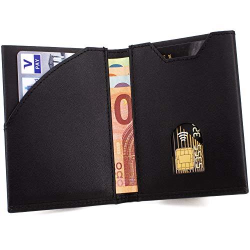 SKULLINO - Slim Wallet, dünne Geldbörse, Leder, RFID-Schutz, bis 10 Karten, Mini Geldbeutel Herren Damen, Kartenetui, Portemonnaie Männer Portmonaise, Portmonee Brieftasche Geldtasche Ledergeldbeutel