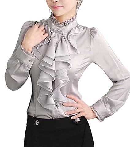 Cheerlife Damen Bluse Langarm Elegant Stehkragen mit Puffärmeln und Volants Rüschung OL Business Slim Fit Chiffonbluse 3XL Silber-Grau