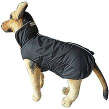 Giacca Impermeabile Cappotto per Cani, Foderato in Pile più Caldi Vestiti per Cani Extra Large Cappotto di Pioggia Leggera con XXXL Protector Belly - Nero Grande 57CM Lunghezza