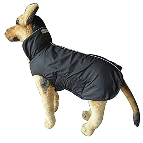 Large Dog Coat Jackets Waterproof, Fleece Lined Winter Warmer Clothes for Extra Large Dogs Raincoat Lightweight with Belly Protector XXXL - Large 57CM Length, Black