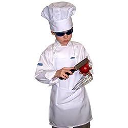 XXL Chefskin Chef SET Kids Children Long Sleeve Jacket + Apron +Hat Fits Kids 9-12 by CHEFSKIN