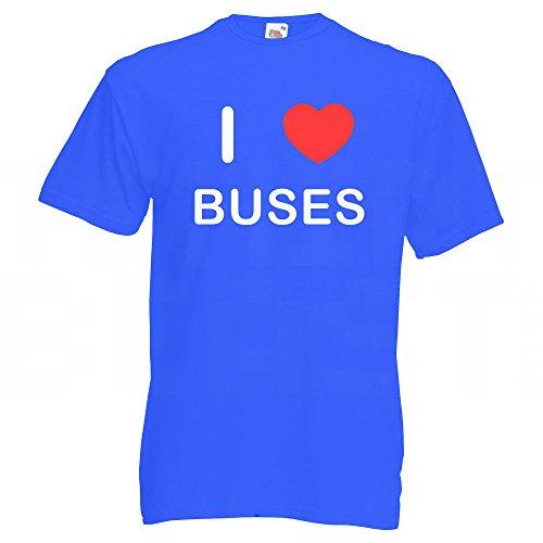 I Love Buses - T-Shirt Blau