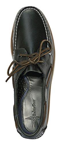 Madsea All Summer Boat Shoe; Pelle Blu Scuro Con Suola Marrone Blu Scuro