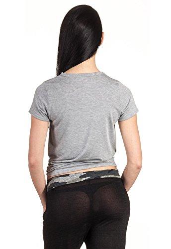 T-Shirt Crop Knot Knoten Bauchfrei Top Oberteil Damen Shirt Short Arm Kurz Arm Hellgrau