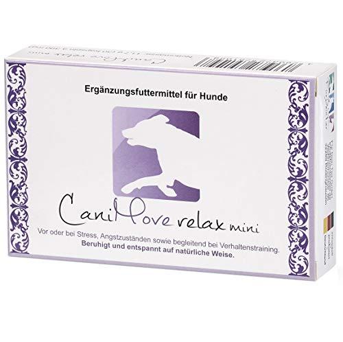 CaniMove relax mini - 30 Kapseln (a 390 mg), Ergänzungsfuttermittel für Hunde zur Beruhigung und Entspannung auf natürliche Weise durch Casein (Casozepin), Tryptophan, L-Theanin, B6 und Inositol. -