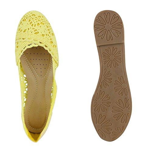 Damen Ballerinas | Slipper Flache Schuhe | Spitze Häkeloptik | Feminine Slip-ons | Stoffschuhe Strass Metallic Hellgelb