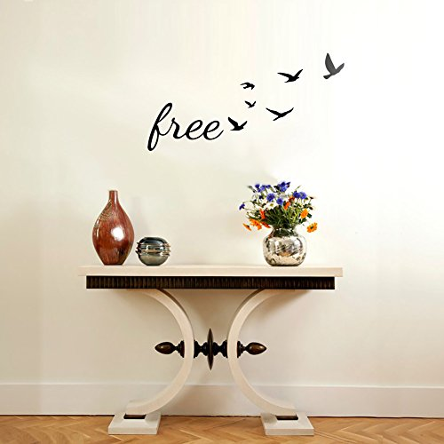Bleacock 35 * 65cm Flying Birds Home Decor Art Sticker Abnehmbares Wohnzimmer Vinyl Wandtattoo Schlafzimmer Dekoration für Kinder (schwarz) (Flying Birds Home Decor)