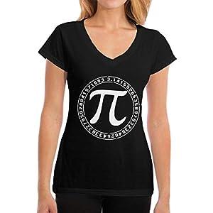 Damen Funny Math PI Logo Baumwolle T Shirt Bekleidung V-Ausschnitt Für Frauen Kurzärmlig Black