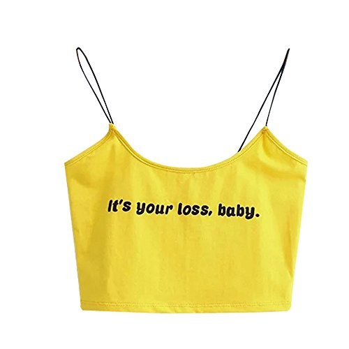 Jimmackey it's your loss babyDonne Senza Maniche Crop Tops Gilet Halter Backless Canottiere Blusa T-shirt Giallo