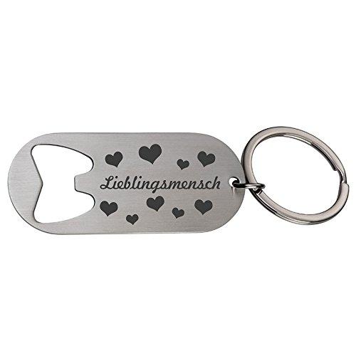 Schlüsselanhänger/Flaschenöffner mit Gravur Lieblingsmensch und Herzen aus Metall