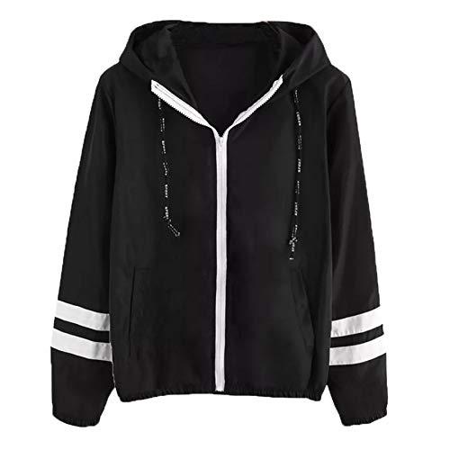 ZahuihuiM Stripe Zipper Casual Jacket pour Les Femmes À Manches Longues Patchwork Peaux Minces Skinsuits À Capuche Poches Sport Manteau