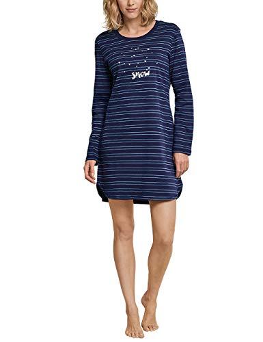 Schiesser Damen Family Sleepshirt 1/1, 90cm Nachthemd, Blau (Dunkelblau 803), 42 - Dessous Langarm